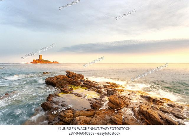 Ile d'Or island at Cape Dramont, Saint-Raphael, Var, Provence-Alpes-Cote d`Azur, France, Europe