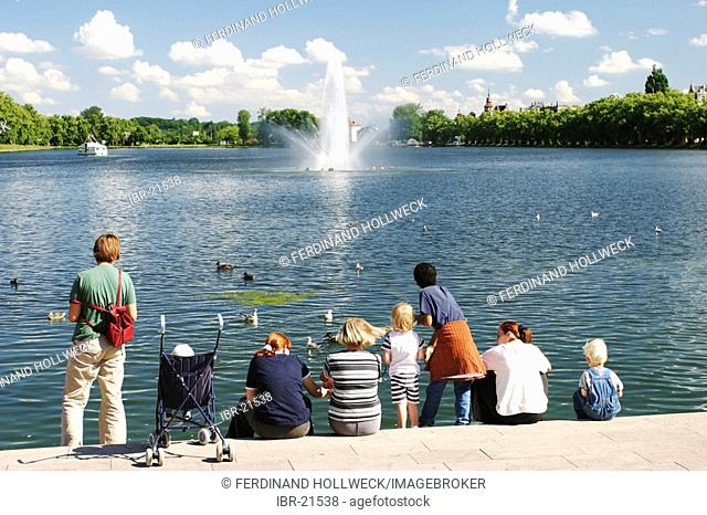 BRD Germany Mecklenburg Vorpommern Schwerin at the Parsons Lake with Fountain and Children