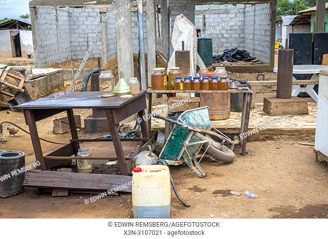 An outdoor gas station in Ganta, Liberia