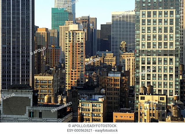 Urban compression with low-rising residential and commercial buildings in midtown Manhattan, New York, USA
