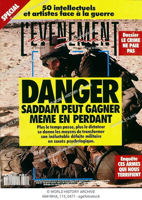 Front Page of the French publication 'L' Evenement' reporting that Saddam Hussein wins even if he loses the Gulf War. February, 1991