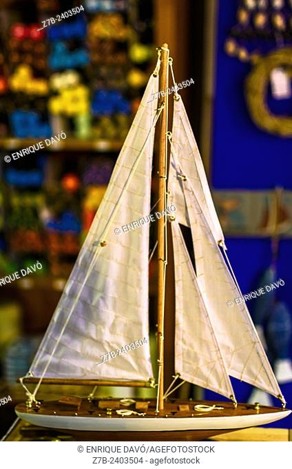 A boat toy in a store of Altea, Alicante province, Spain