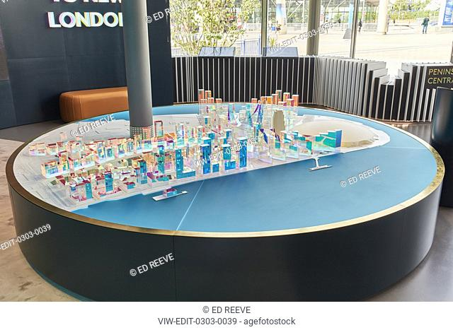 Architectural perspex model on display unit. Greenwich Peninsula Exhibition at the Now Gallery, Greenwich, United Kingdom