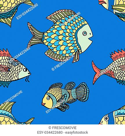 fish blue seamless pattern. Hand Drawn doodle