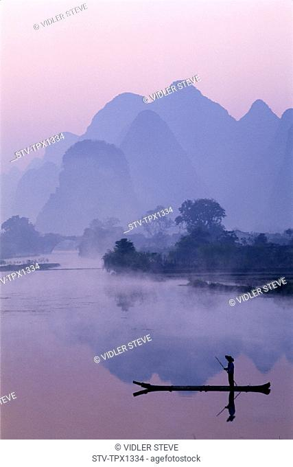 Asia, China, Dawn, Guangxi, Guilin, Holiday, Landmark, Li river, Limestone, Mountains, Province, River, Scenery, Tourism, Travel