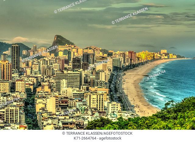 Views of the Leblon and Ipanema beaches in Rio de Janeiro, Brazil