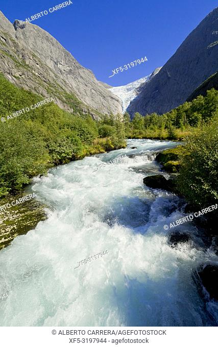 Briksdal Glacier River, Jostedalsbreen National Park, Norway, Scandinavia, Europe