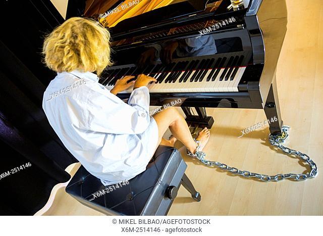 Woman playing a piano