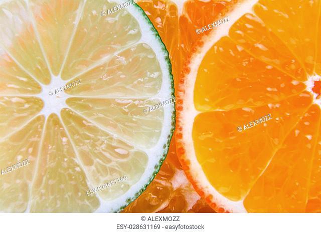 Fresh sliced citrus on white background close-up macro isolated