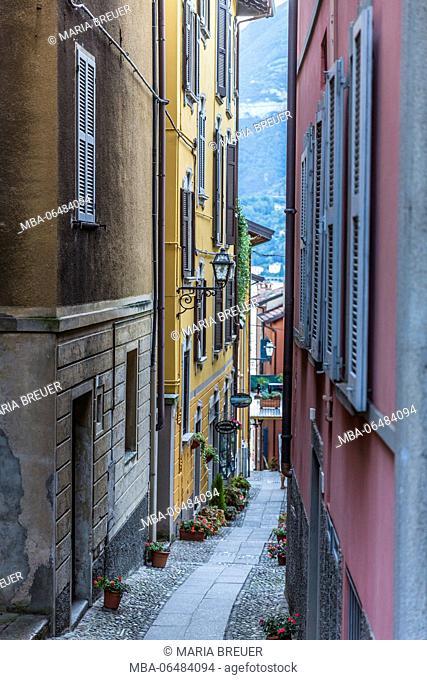 Small lane in Bellagio, dusk, Lake Como, province of Como, Lombardy, Italy, Europe