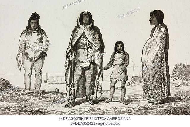 Eskimos wearing traditional dresses, circumpolar regions, engraving from Chili, Paraguay, Buenos-Ayres, by Cesar Famin, Patagonias