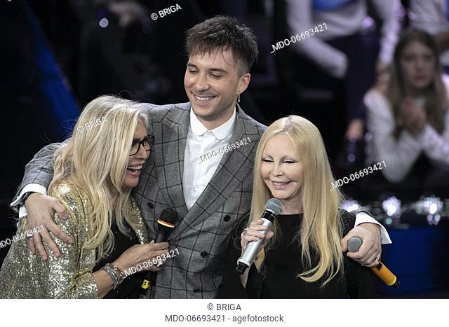 Italian tv host Mara Venier with italian singers Patty Pravo and Briga during the episode of Domenica In dedicated to 69th Sanremo Music Festival