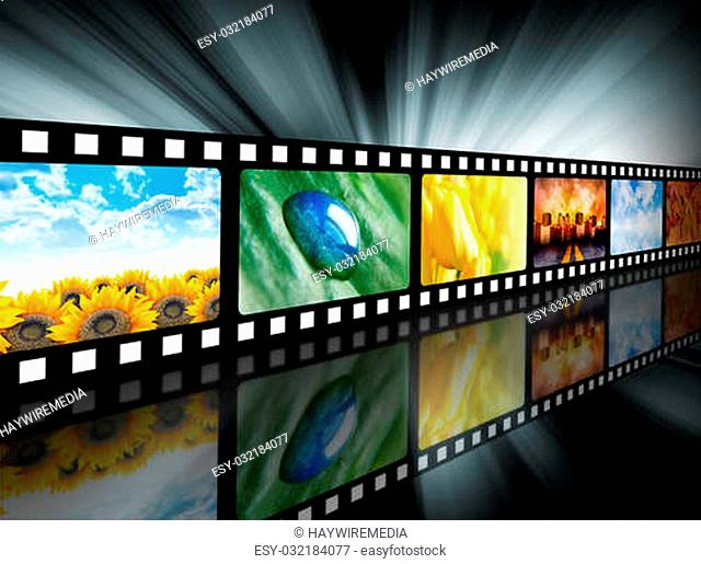 A film reel has different nature photo images on it and there is a glowing black background. Use it for a media technology concept
