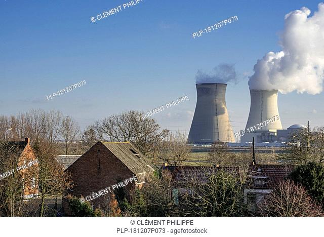 Houses in the vicinity of the Doel Nuclear Power Station / nuclear power plant in the Antwerp harbour, Flanders, Belgium