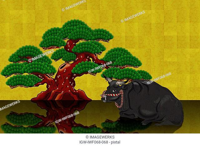 Japanese ox with pine tree, illustration