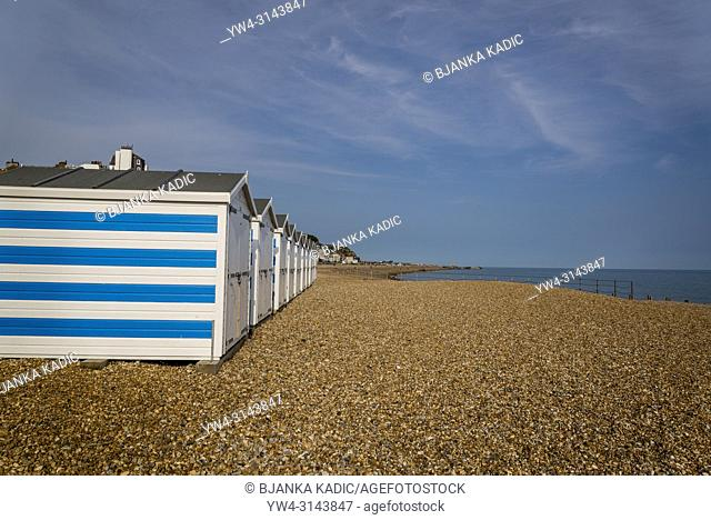 Beach huts at the beach, Hastings, East Sussex, England, UK