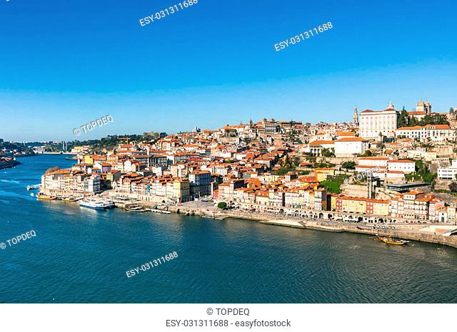 Overview of Old Town of Porto, Portugal. Ribeira and Douro river