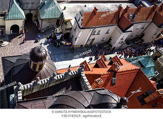 Jagiellonian Gate (also called Walowa Gate) and courtyard seen from the tower of Basilica of Jasna Gora - most famous Polish pilgrimage site