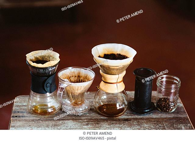 Selection of coffee makers, still life