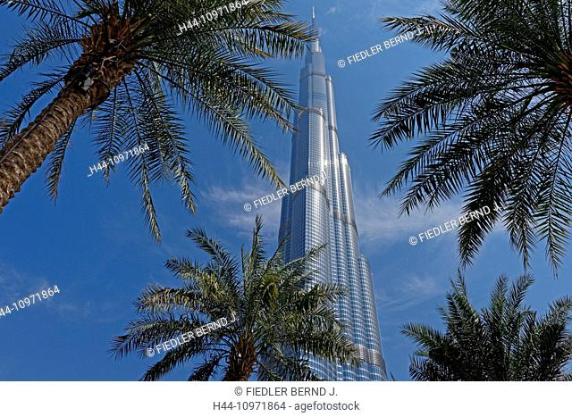 Asia, United Arab Emirates, UAE, Dubai, Sheikh Mohammed Bin Rashid boulevard, Burj Khalifa, height, 828 meters, gardens of the Burj Khalifa, palms, architecture