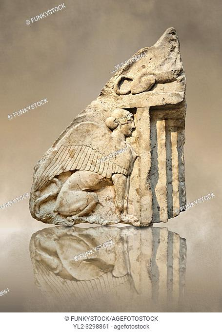 Guardian Sphinxes, part lion & part sphinx from the gable end of a vaulted Lycian sarcophagus from the Heros of the Acropolis (Building H Xanthos)