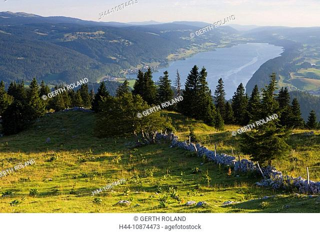 Dent de Vaulion, Switzerland, canton Vaud, Vaud lands Jura, vantage point, lake, water, Lac de Joux, wood, forest, stone wall, dry wall