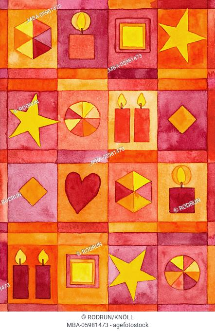 Watercolour of Heidrun Füssenhäuser, Christmas, Christmas motif art, burning red candles, yellow stars and a red heart on red fields