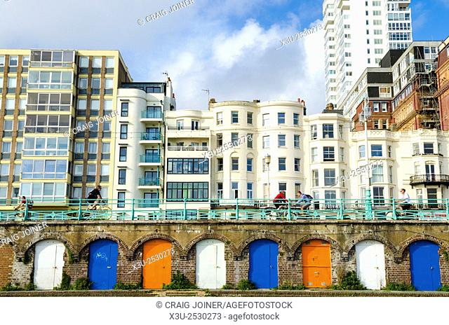 Kings Road arches along the esplanade at Brighton and Hove, East Sussex, England
