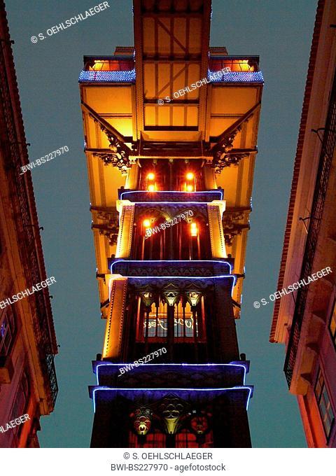 historical passenger lift Elevador de Santa Justa, Portugal, Lisbon