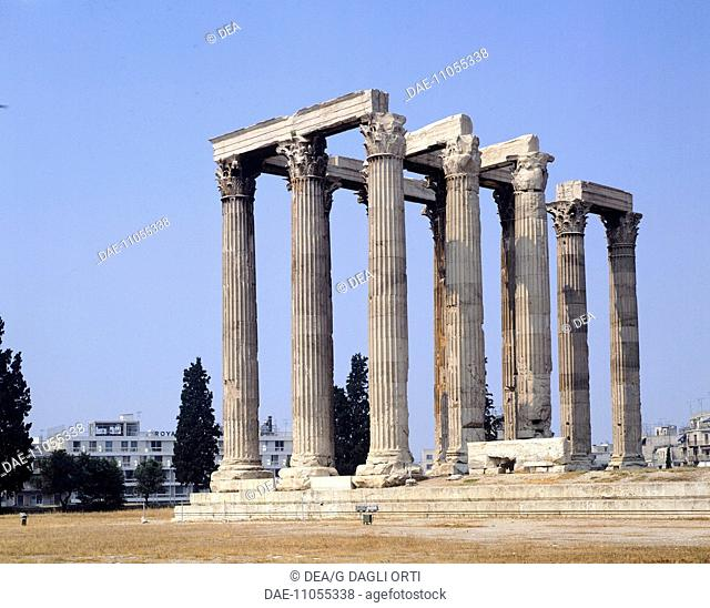 The Temple of Olympian Zeus (Olympieion) in Athens (Greece). Greek Civilization, 2nd Century AD
