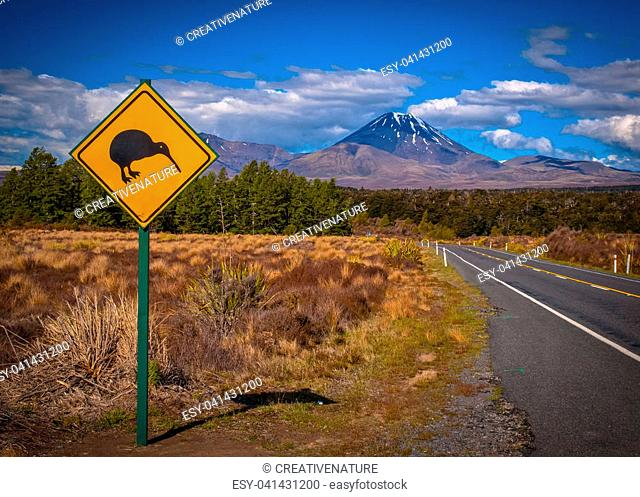 Kiwi warning sign with tongariro volcano in background, New Zealand