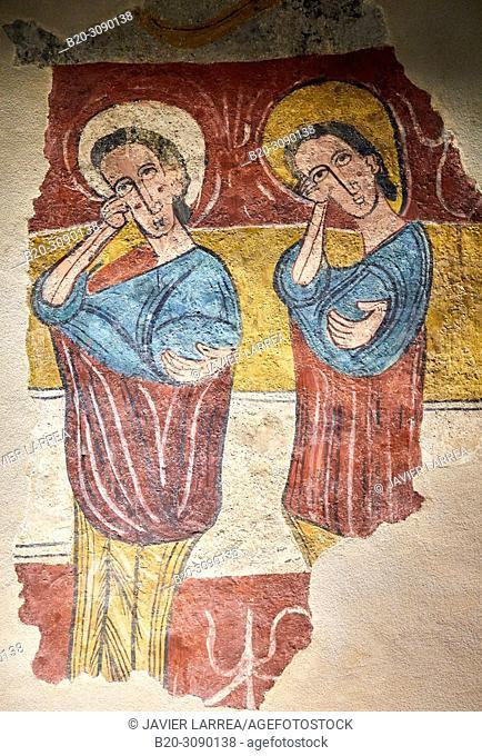 Mural paintings. Iglesia de Santa Eulalia de Mérida en Susín (Huesca), Diocesan Museum of Jaca, Museo Diocesano de Jaca, Jaca, Huesca province, Aragón, Spain