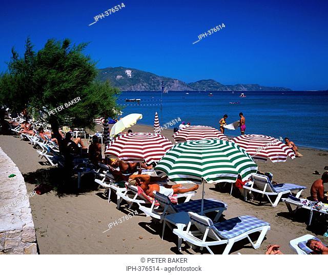 Sandy beach at Laganas a popular resort on the island of Zakynthos