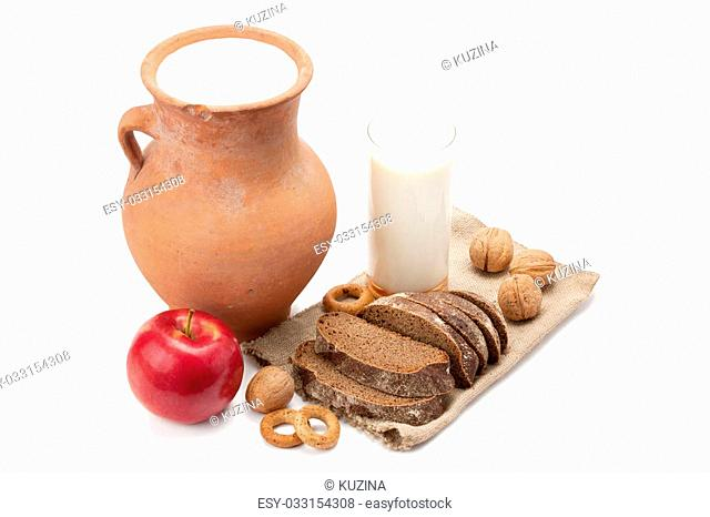 fresh milk ,rye bread and other useful products