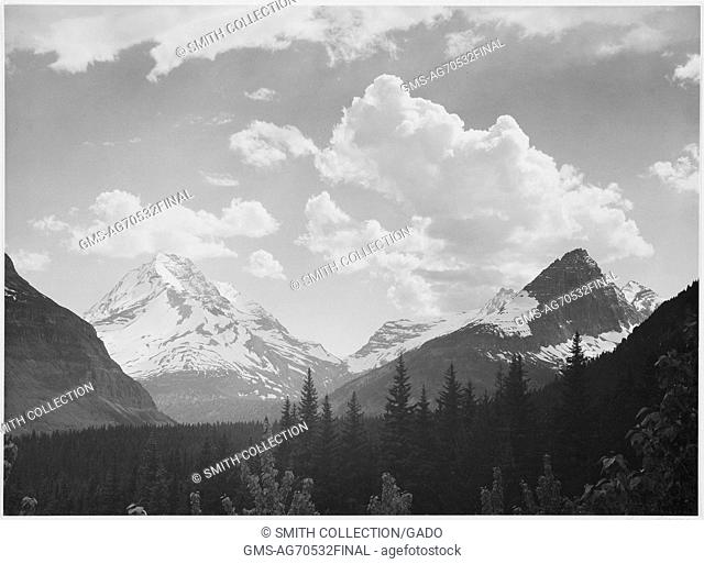 A black and white photograph of snow covered mountains in Glacier National Park, the valley leading to the mountains is covered by a dense forest; the image...