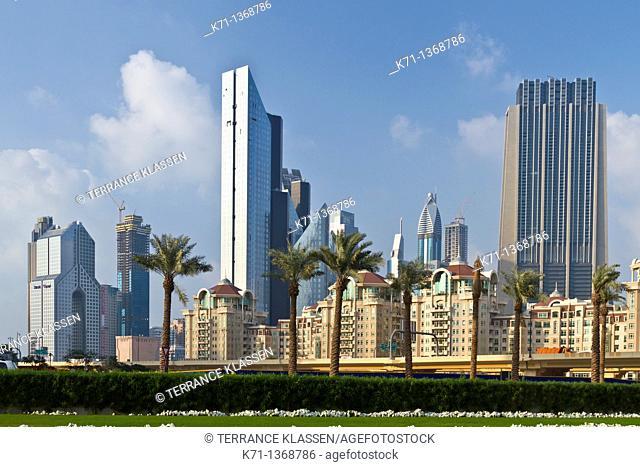 The Dubai city skyline near the Dubai Mall, UAE