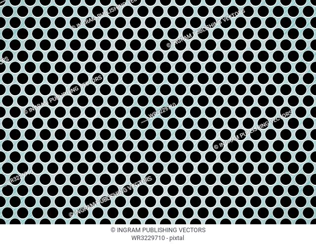 brushed metal aluminum background with large holes in mesh pattern