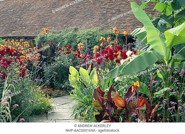 THE 'HOT GARDEN' in bloom Great Dixter, Northiam, East Sussex, England