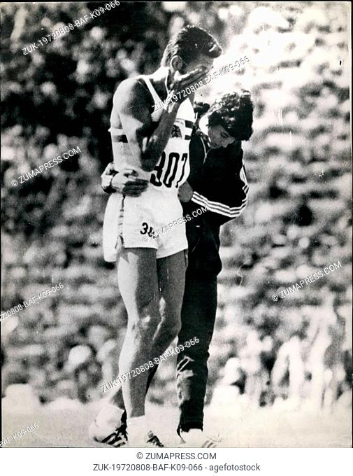 Aug. 08, 1972 - Britain's John Sherwood Breaks Down In The 400-Metres Hurdles At The Olympic Games IN Munich: Photo Shows Britain's John Sherwood is consoled by...