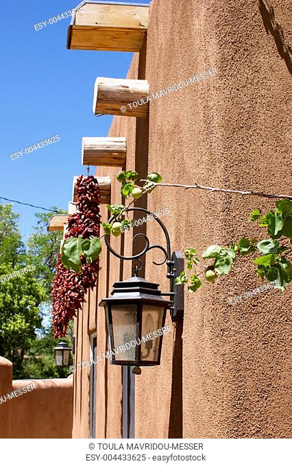 New Mexico Adobe Building With Ristras