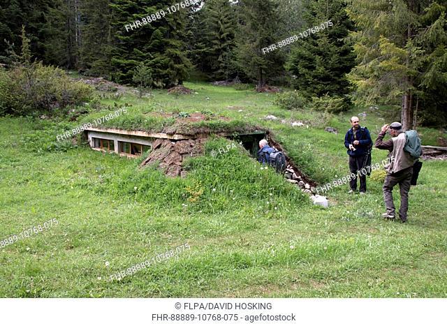 Wildlife photographic hide used for viewing bears, near Yagodina Village Bulgaria
