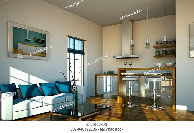 3d Illustration of modern kitchen in loft with a beautiful design