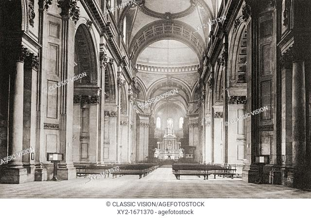 The nave of St  Paul's Cathedral, London, England in the late 19th century  From London, Historic and Social, published 1902