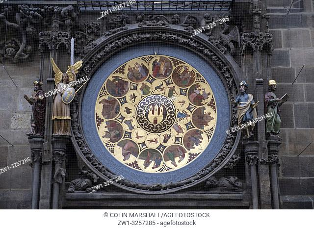 Astronomical Clock (Prague Orloj), Old Town Hall, Old Town Square, Prague, Czech Republic