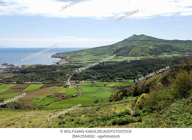View of green pastures near Santa Cruz on Graciosa Island in the Azores, Portugal
