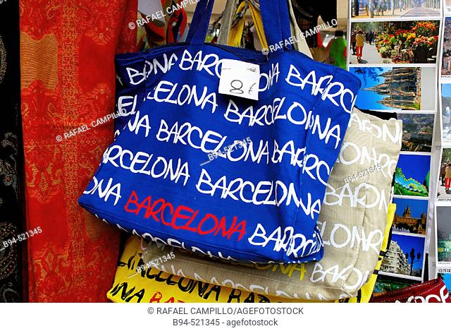 Souvenir bags. Barcelona. Catalunya. Spain