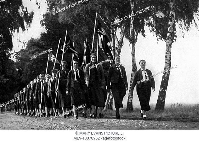 German maidens for Hitler marching