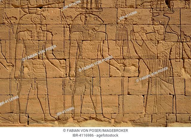Relief of a procession with the deities Apedemak and Horus at the Lion Temple for the lion-deity Apedemak, Naga, Black Pharaohs, Nubia, Nahr an-Nil, Sudan