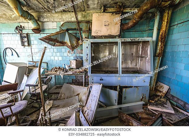 Interior of abandoned Jupiter Factory in Pripyat ghost town of Chernobyl Nuclear Power Plant Zone of Alienation in Ukraine