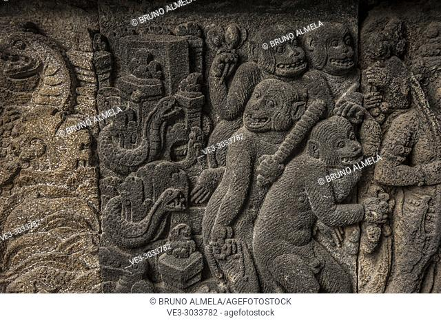 Bas-relief in Prambanan Hindu Temple Coumpounds (UNESCO World Heritage Site), Special Region of Yogyakarta,Central Java, Indonesia